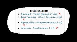"""""""Мой песенник"""" в сайдбаре"""